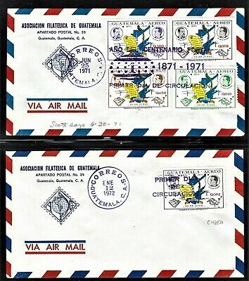 GUATEMALA 1971-2 SCOTT C460-3 AND C460a FIRST DAY COVERS