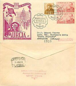 331-Spagna-Annullo-speciale-Fiera-industriale-a-Murcia-su-busta-31-03-1956