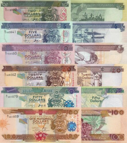 Solomon Islands 6 Note Set - 2 to 100 Dollars (ND/2006) p-25 to p-30 UNC