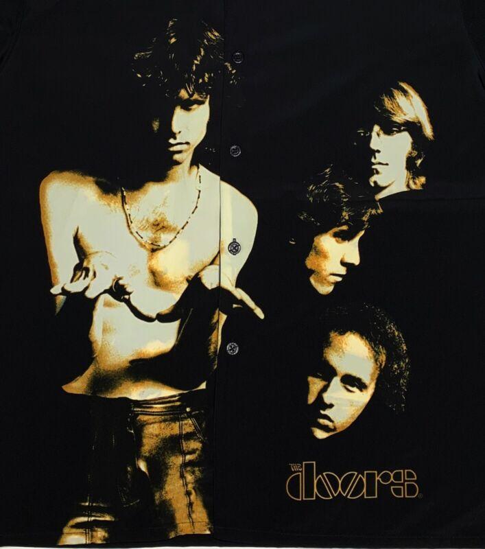 The Doors Mens Large Button Picture Shirt Rare Vintage Jim Morrison Design VTG