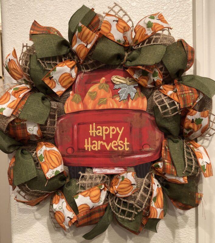 FARMHOUSE RED TRUCK Fall 🍁 Deco Mesh Wreath BURLAP Happy Harvest 22 x 22 AUTUMN
