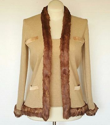Randolph Duke New Womens 2pc Set Sweater Jacket & Tank Top Faux Fur The Look XS