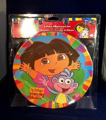 Dora The Explorer 3 Piece Dinnerware Set   Brand New