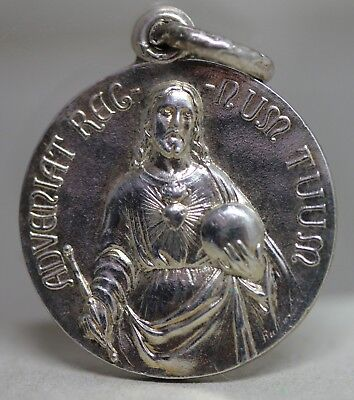 Antique Religious Silver Plated Medal Jesus Christ  Adveniat Regnum Tuum