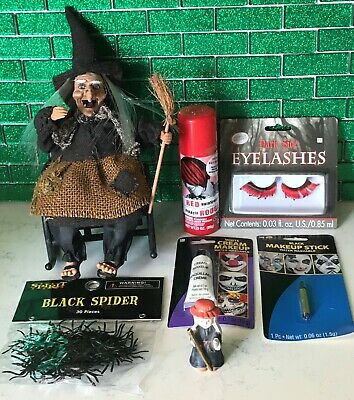 Halloween Witches Eye Makeup (Lot of Halloween Stuff 7pc - Laughing Lighted Hair & Eyes Witch, Spiders,)