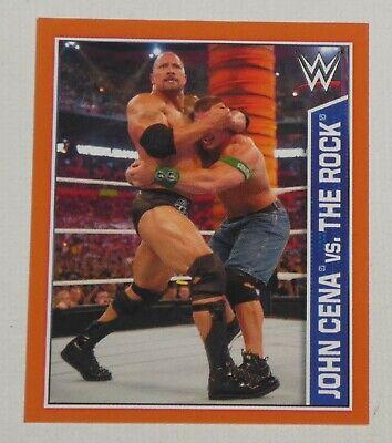 John Cena vs The Rock 2015 Topps WWE Album Stickers Card #100 Wrestlemania 28