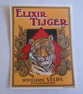 Old Vintage 1920's - Elixir Tijger - European Liquor LABEL - TIGER