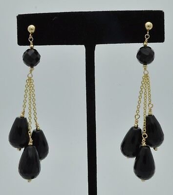 ( New 14K Solid Gold Natural Black Onyx Briolette Drop Earrings)
