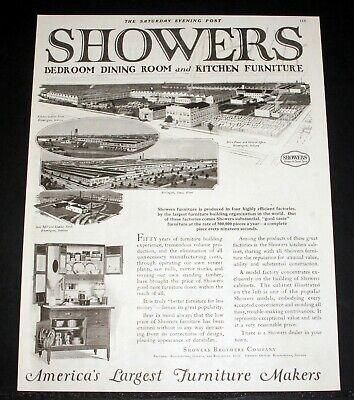 1921 OLD MAGAZINE PRINT AD, SHOWERS BEDROOM, DINING ROOM AND KITCHEN FURNITURE!
