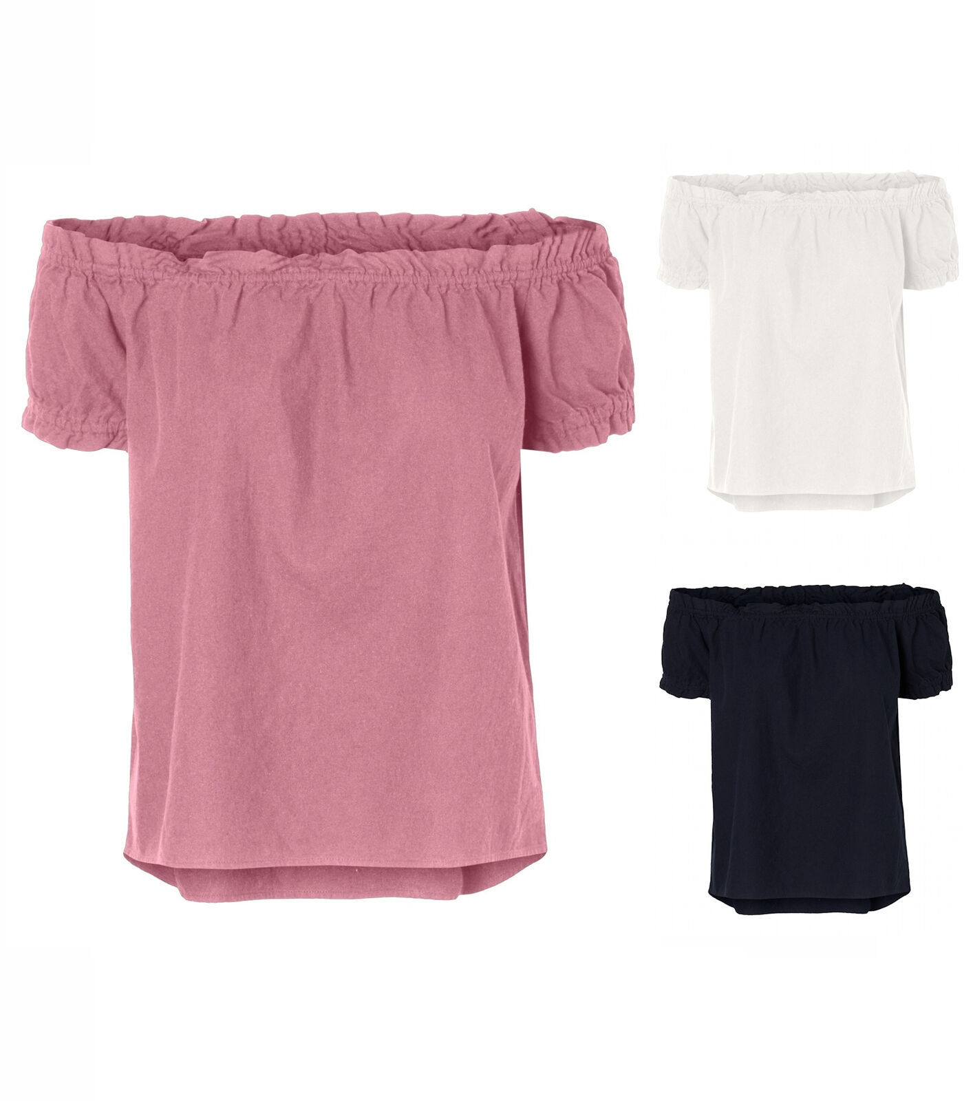 Vero Moda Damen Top vmAnna - ohne Schulter in uni weiß blau und rosa