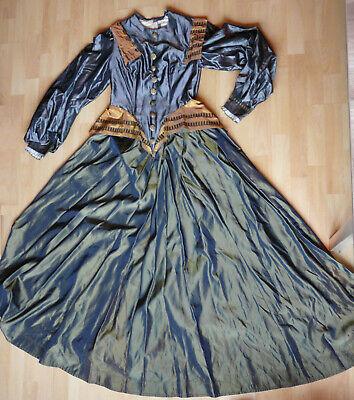 Edles Kleid Taft ? silber gold 36 38 Schößchen Kostüm Theater Renaissance Larp ?