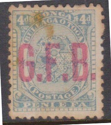 (Q60-15) 1893 Tonga 1d blue official O/P G.F.B (toning)(O)