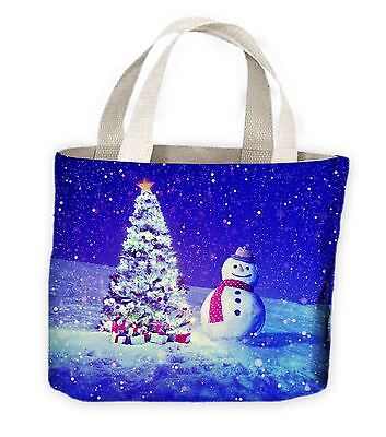 Snowman and Christmas Tree Tote Shopping Bag For Life - Gift - Large Christmas Bags For Presents