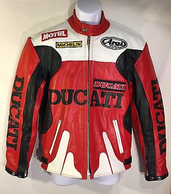 Racing Replica Leather Jacket - DUCATI Italy Vintage Motorcycle Racing Leather Jacket Red/Black Replica Sz S