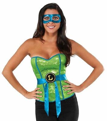 Sexy Woman's Leonardo Green Sequin Corset - Costume Teenage Mutant Ninja Turtles (Teenagers Costumes)