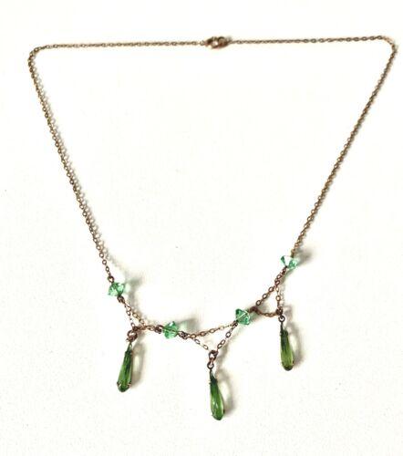 Antique Art Nouveau / Deco 9CT Rose Gold & Green Stone Necklace - 15inch