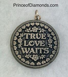 "Silver coloured ""True Love Awaits"" pendant charm"