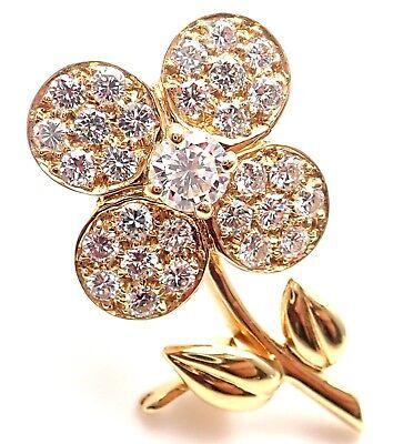 Rare! Authentic Van Cleef & Arpels Diamond 18k Yellow Gold Flower Pin Brooch