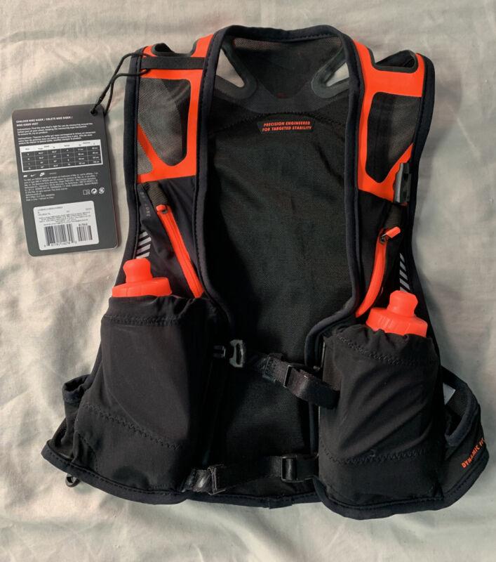 Nike Trail Kiger Vest w/ Water Bottles Running Black/Orange Adult Unisex Small S