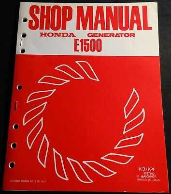 1978 HONDA PORTABLE GENERATOR E1500 SHOP SERVICE MANUAL (712) for sale  Shipping to India