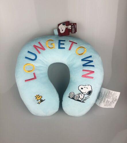 Peanuts SNOOPY WOODSTOCK Blue LoungeTown Head Neck Pillow Car Plane Travel NWT - $40.00