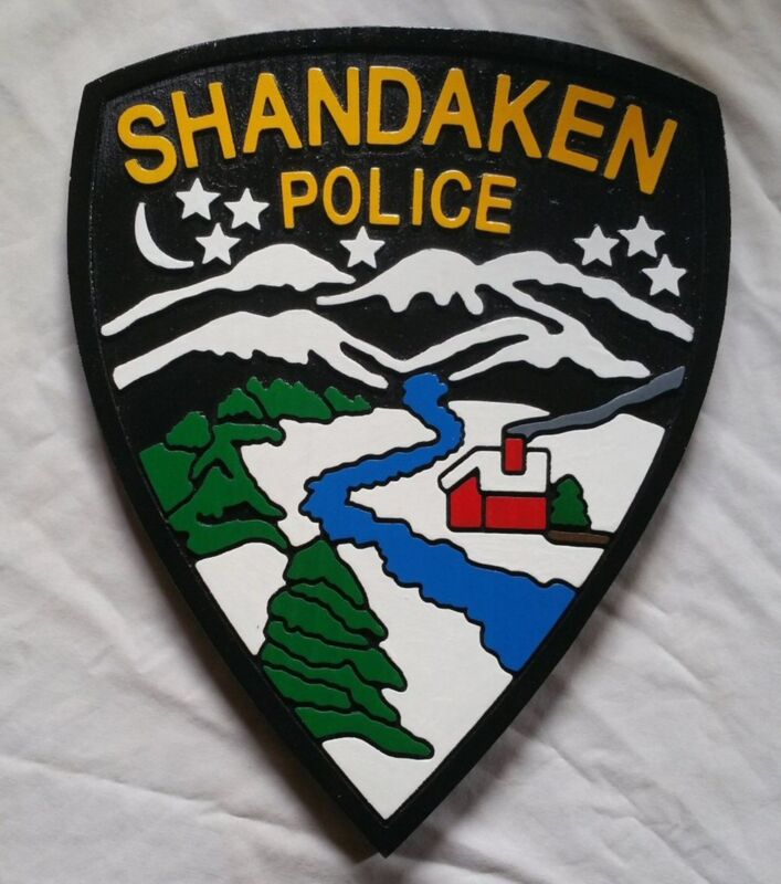 Police Shandaken 3d routed wood patch plaque sign Custom Carved