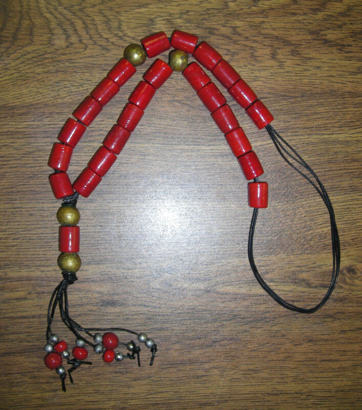 Vintage Red Glass & Brass Trade Bead Necklace