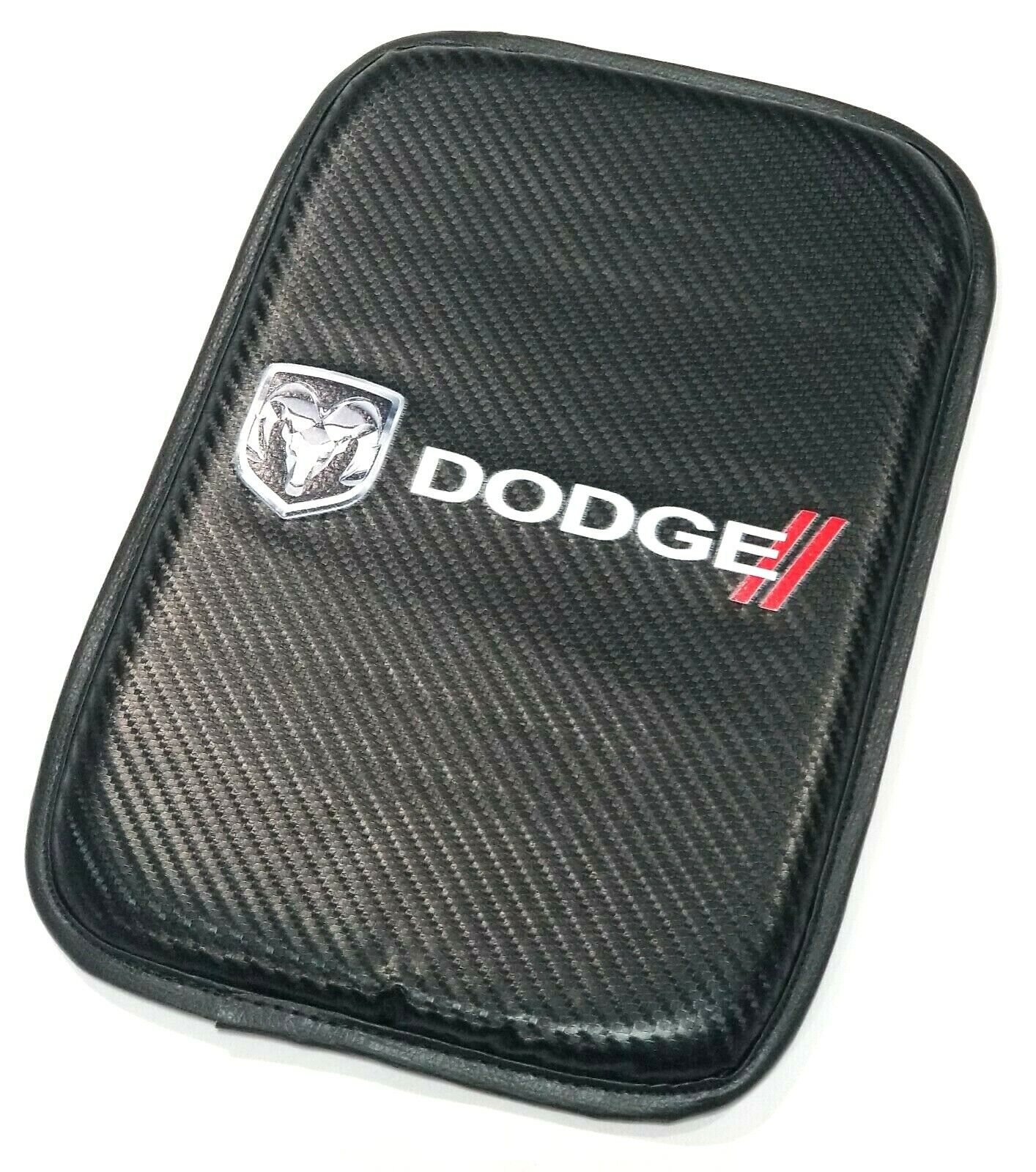For JDM DODGE Racing Carbon Car Center Console Armrest Cushion Mat Pad Cover X1