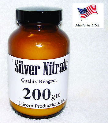 Silver Nitrate Made From 99.99 Silver Reagent - 200 Grams Agno3 Cas 7761-88-8