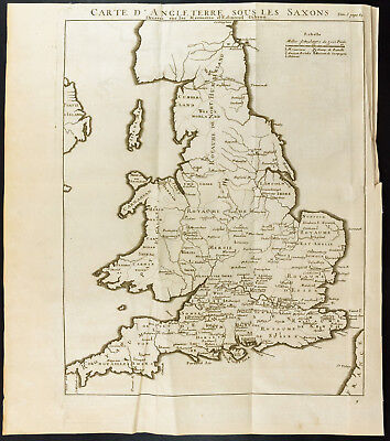 1749 - Antique Map: Card 'England under the Saxons
