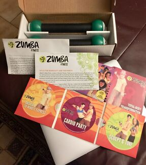 ZUMBA EXERCISE GIFT BOX WITH DVD's AND TONING STICKS