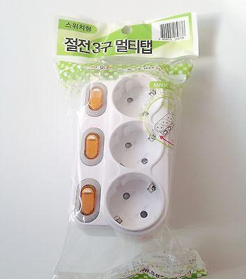 New 3 Way Separate Turning Multi Socket Outlet Receptacles Safe Original