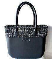 Borsa O Bag Nera+manici Lunghi Neri+bordo Tweed+sacca Nera Bordeaux-  - ebay.it