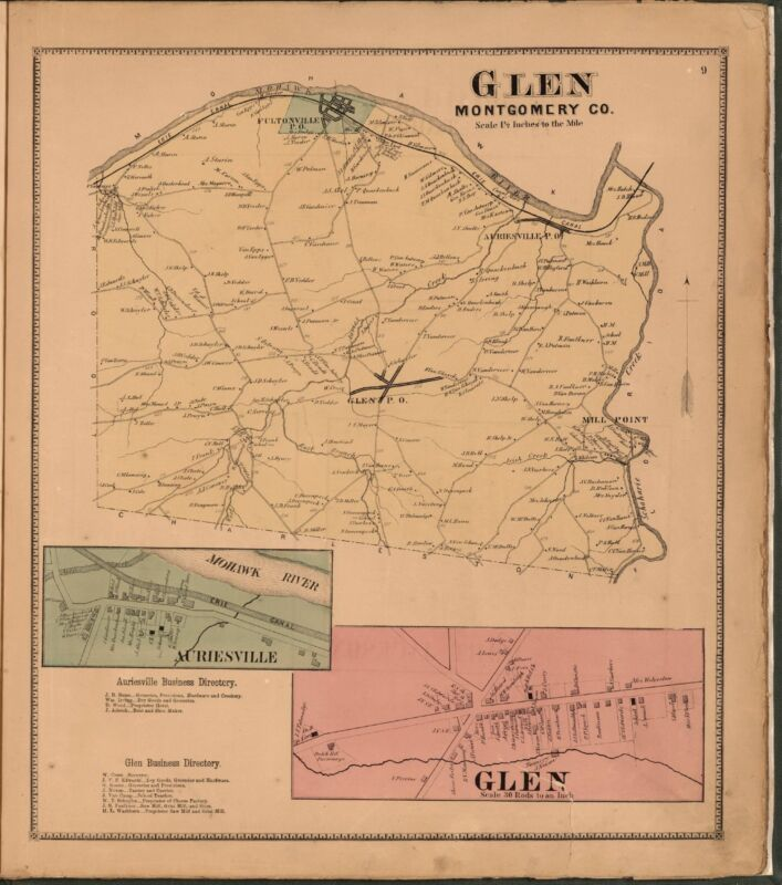 1868 Atlas MONTGOMERY FULTON COUNTY NEW YORK state maps old GENEALOGY DVD P17