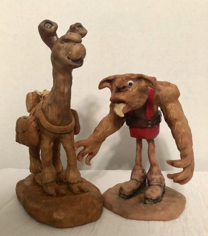 Sculpture Otis And  Whiskey Handsculpted Polymer Clay, Signed , 1 Of A Kind New