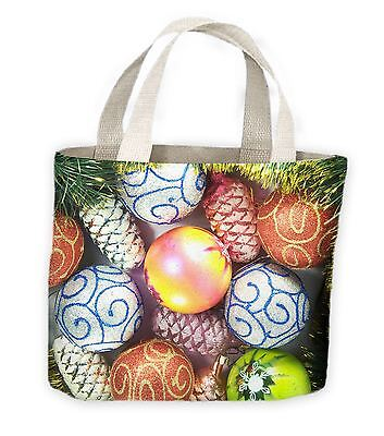 Christmas Baubles Tote Shopping Bag For Life - Gift - Large Christmas Bags For Presents