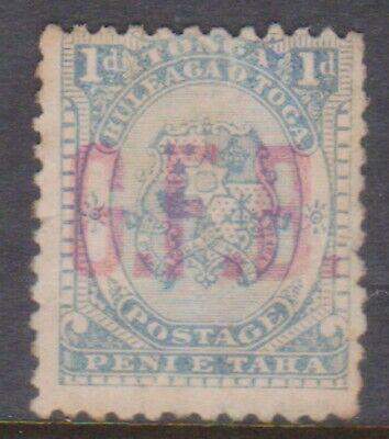 (Q60-13) 1893 Tonga 1d blue official O/P G.F.B (M)