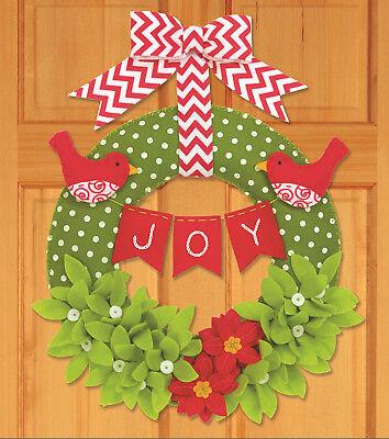 Dimensions Felt Embroidery Kit - Felt Embroidery Kit ~ Dimensions Joy Wreath Christmas Hanging / Decor #72-08272