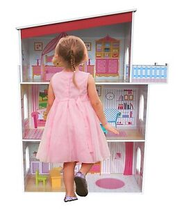 Kiddi Style Tall Kids Girls Wooden Mansion Doll House & Furniture - Fits Barbie