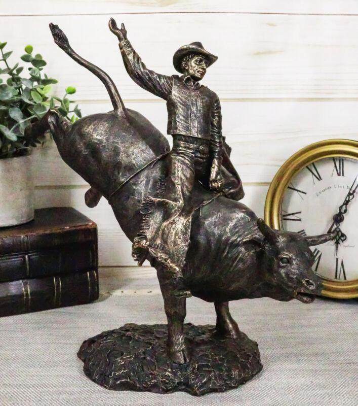 Rustic Western Wild Rodeo Bull Rider Cowboy On Bucking Bull Decorative Statue