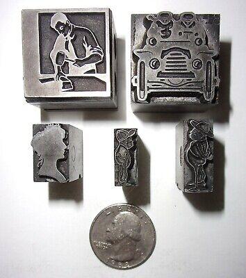 Lot Of 5 Printing Letterpress Type Cut Printer Blocks Decorative People Figures
