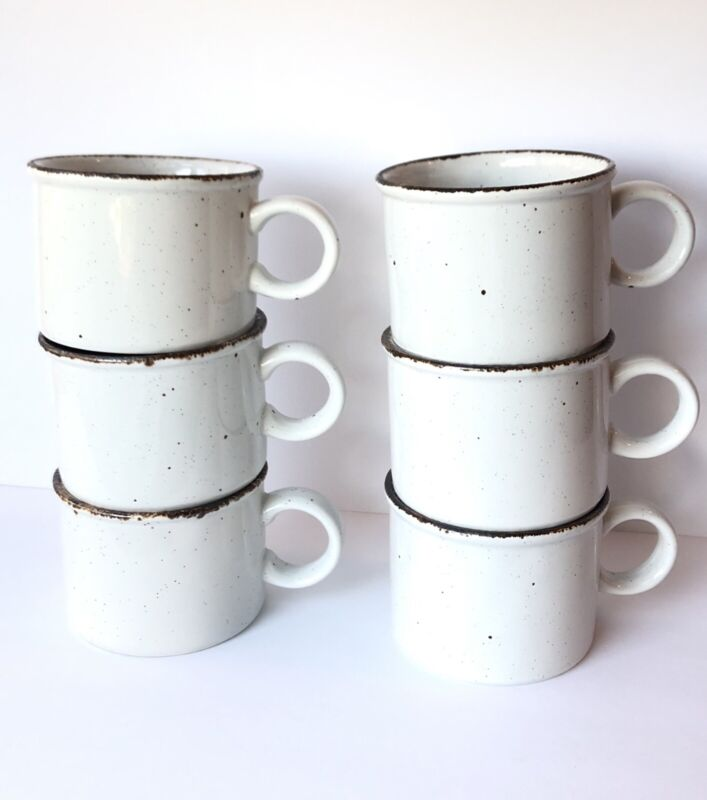 VTG Midwinter Creation Stonehenge England Stoneware Coffee Cup Set 6 Speckled