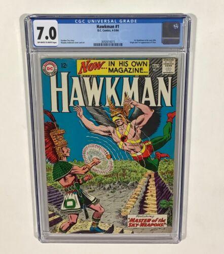 Hawkman #1 CGC 7.0 KEY! (1st Hawkman in own title, 1st Chac & origin!) 1960 DC