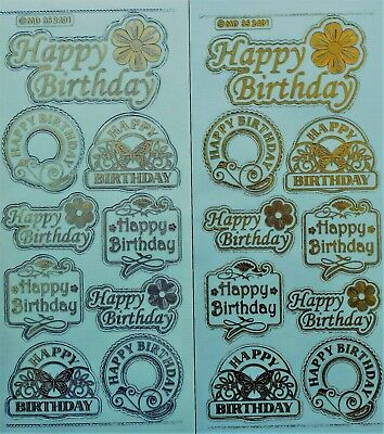 Happy Birthday Peel - Embossed on Clear Happy Birthday PEEL OFF STICKERS Butterflies Labels Banners