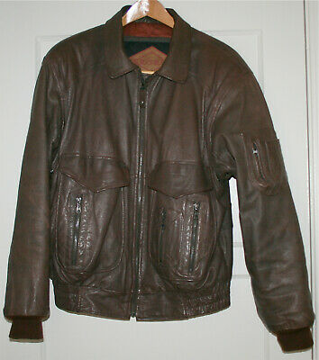 Used, Vintage A-2 G-1 MA-1 Style Flight Bomber Brown Leather Jacket Size M Exclellent for sale  Pacoima