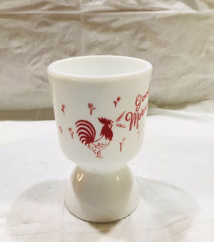 Vintage Indiana  milk glass good morning rooster egg / Juice cup