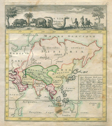 Original antique map of Asia China Japan Australia from 1764 by J. M. Franz