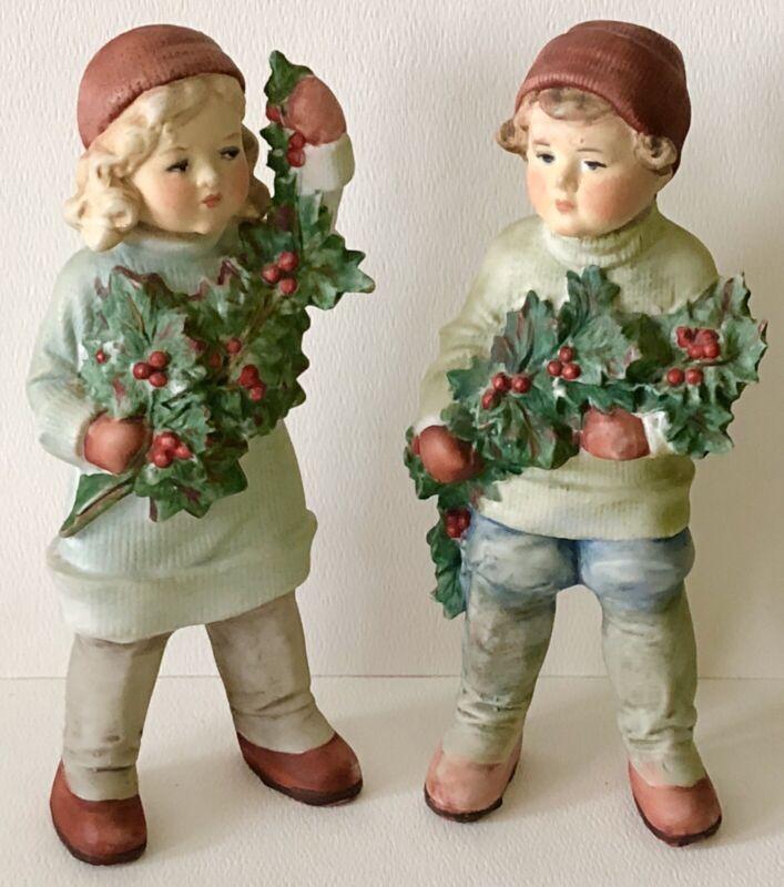 Antique German CARL SCHNEIDER Bisque CHRISTMAS HOLLY Doll BOY&GIRL Figurine SET