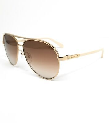 Salvatore Ferragamo Sunglasses SF163S 717 Shiny Gold Aviator Women 60x13x140