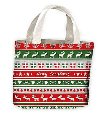 Christmas Reindeer Pattern Tote Shopping Bag For Life - Gift - Large Christmas Bags For Presents